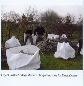 City of Bristol College students bagging stone for pitching on Black Down.