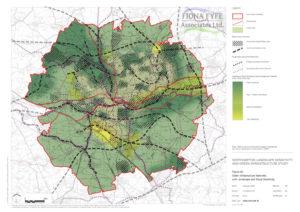 Extract from Northampton LSGI Study, showing Biodiversity Networks and Green Infrastructure Networks overlaid on Landscape and Visual Sensitivity.